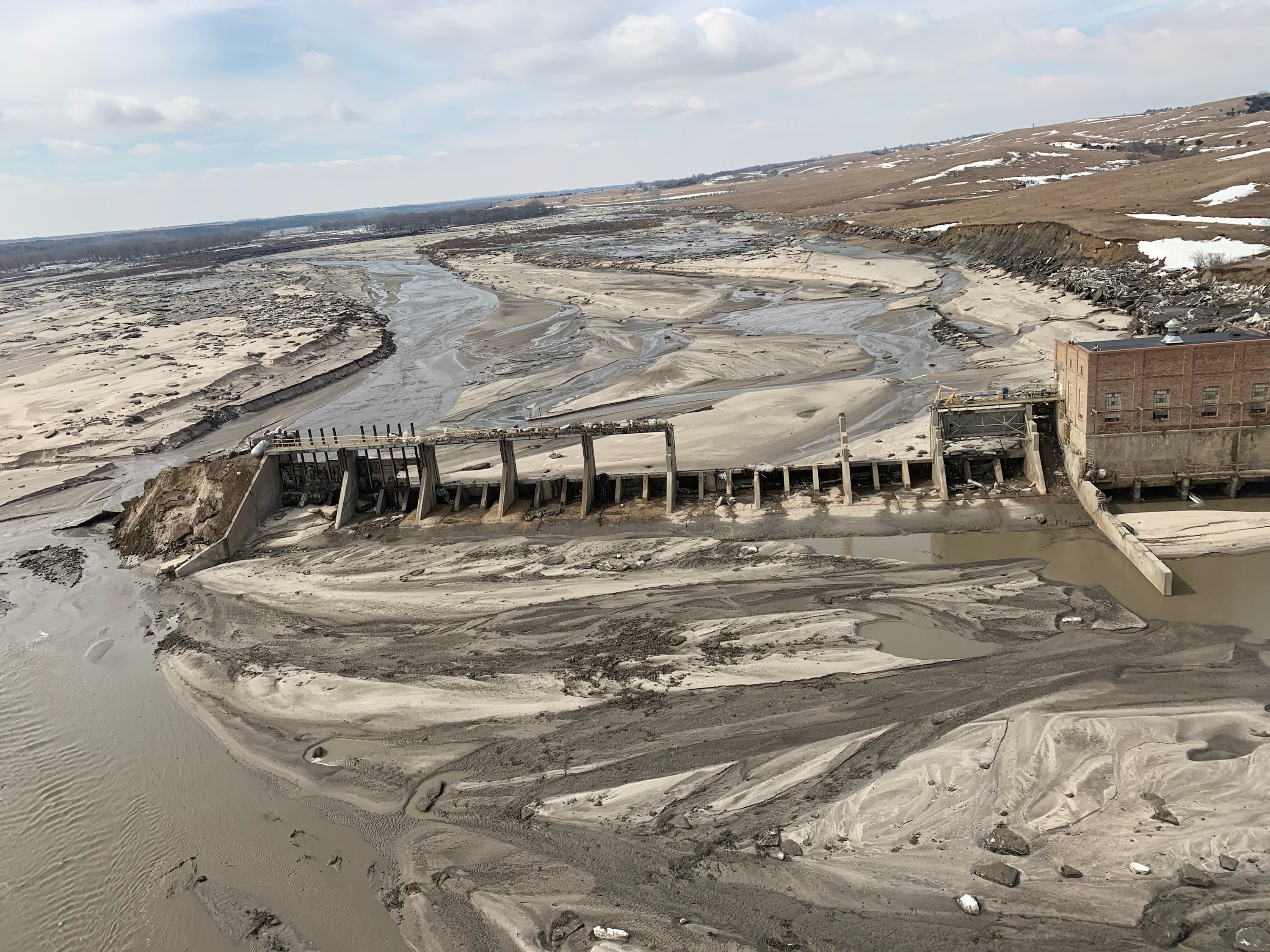 An aerial view of Spencer Dam after a storm triggered historic flooding, near Bristow, Nebraska