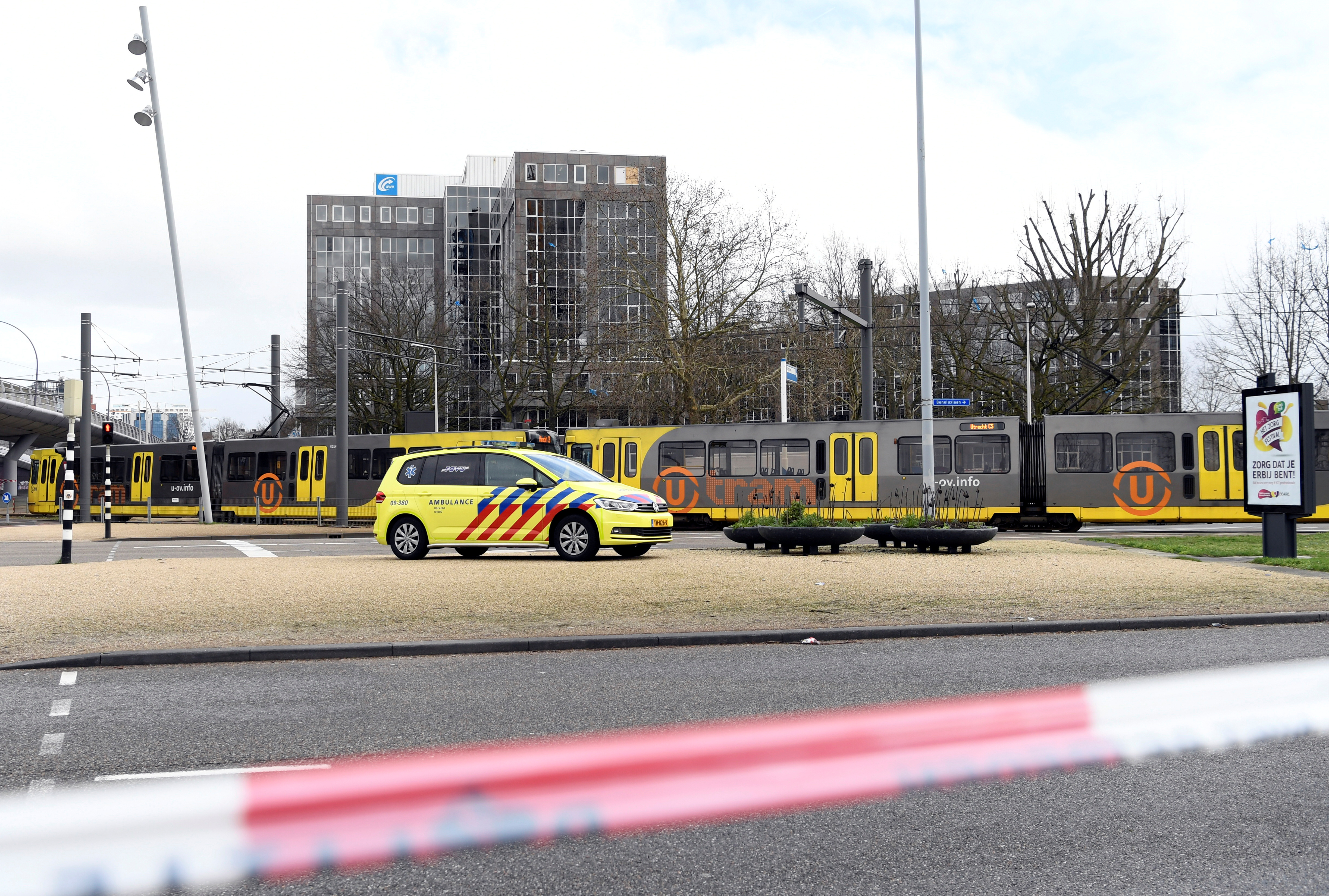 A view of the site of a shooting in Utrecht, Netherlands, March 18, 2019. REUTERS/Piroschka van de Wouw