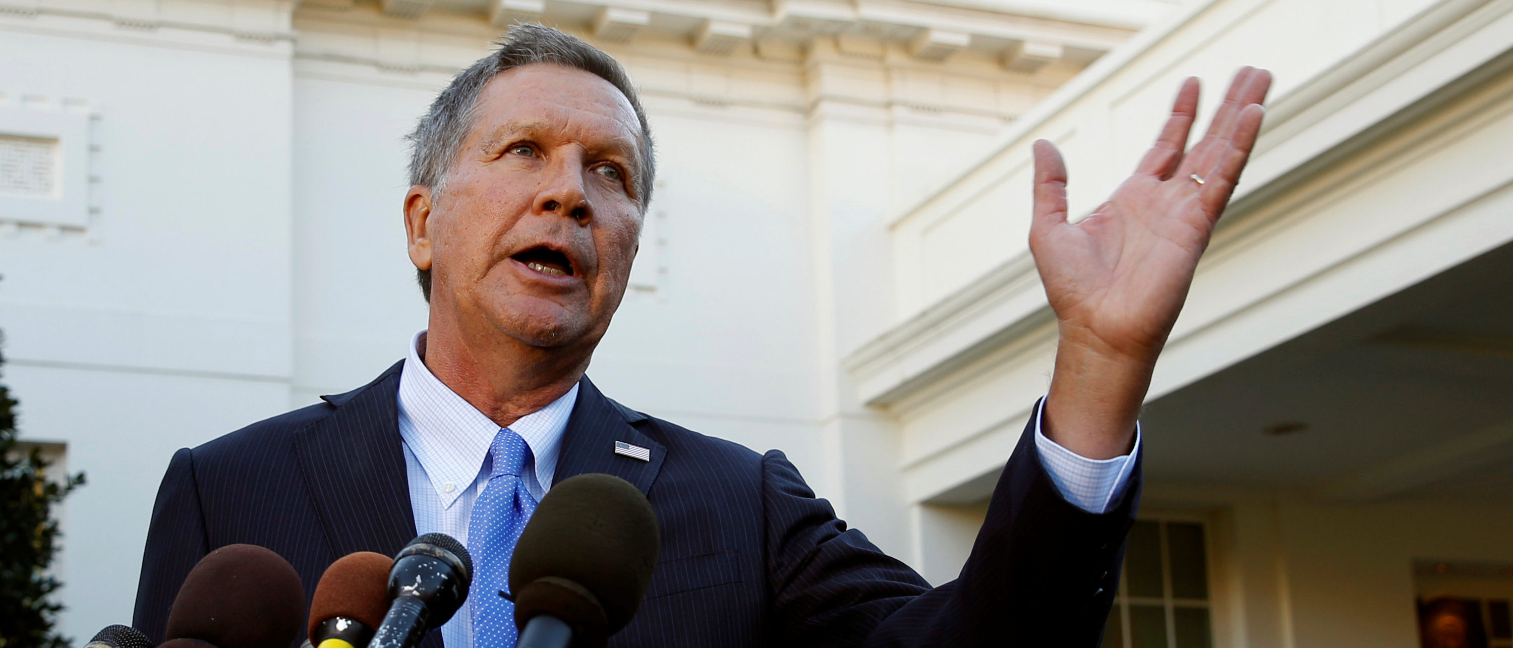 Ohio Governor and former presidential candidate John Kasich speaks to reporters after an event honoring the Cleveland Cavaliers, the 2016 NBA championship team, at the White House in Washington November 10, 2016. REUTERS/Kevin Lamarque.