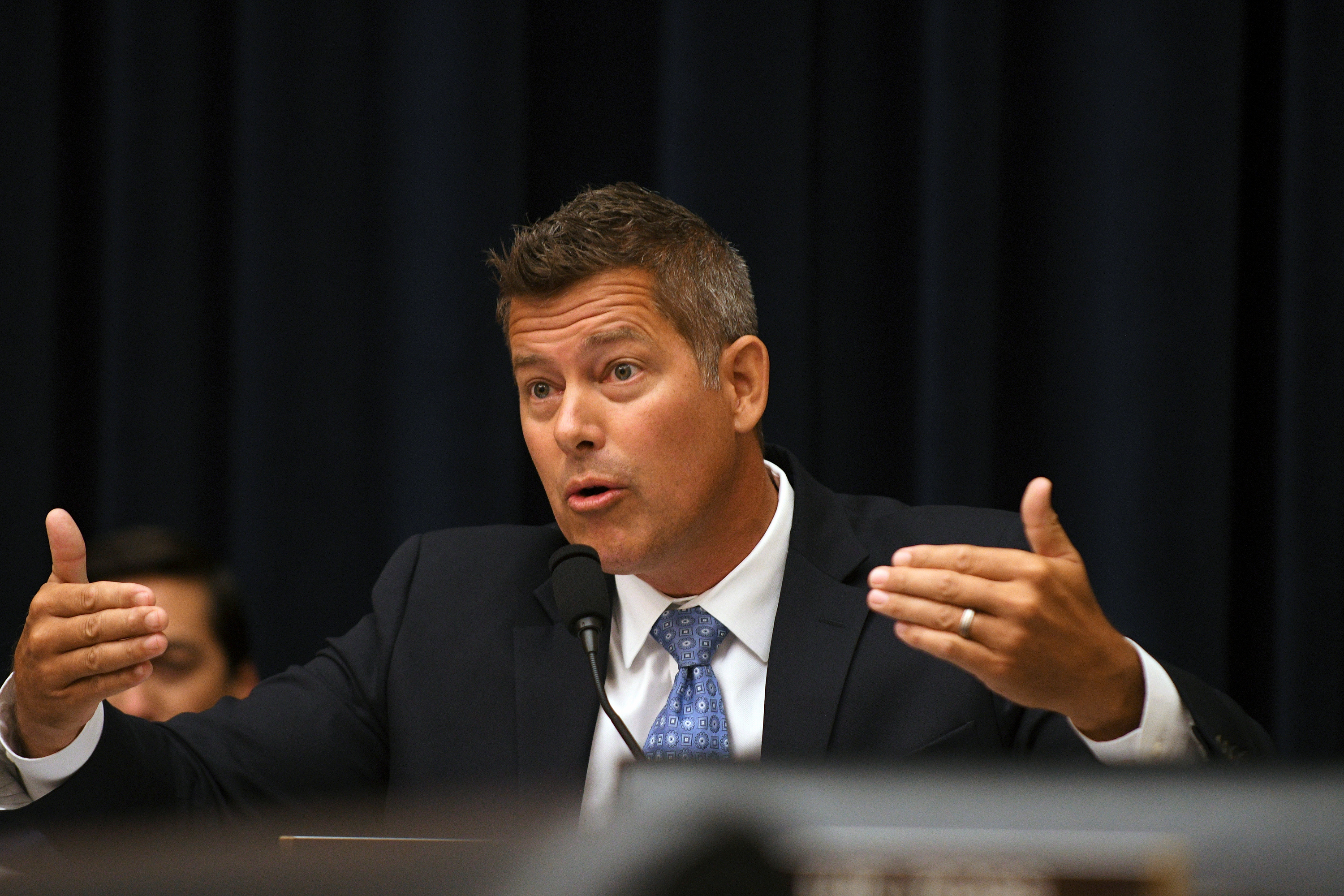 "Rep. Sean Duffy questions Federal Reserve Chairman Jerome Powell during his testimony before a House Financial Services Committee hearing on the ""Semiannual Monetary Policy Report to Congress"", at the Rayburn House Office Building in Washington"