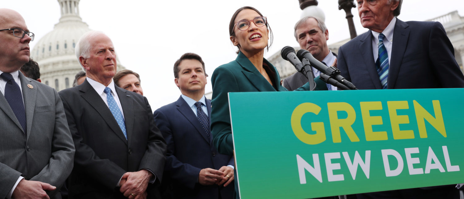"""U.S. Representative Alexandria Ocasio-Cortez (D-NY) and Senator Ed Markey (D-MA) hold a news conference for their proposed """"Green New Deal"""" to achieve net-zero greenhouse gas emissions in 10 years, at the U.S. Capitol in Washington, U.S. February 7, 2019. REUTERS/Jonathan Ernst"""