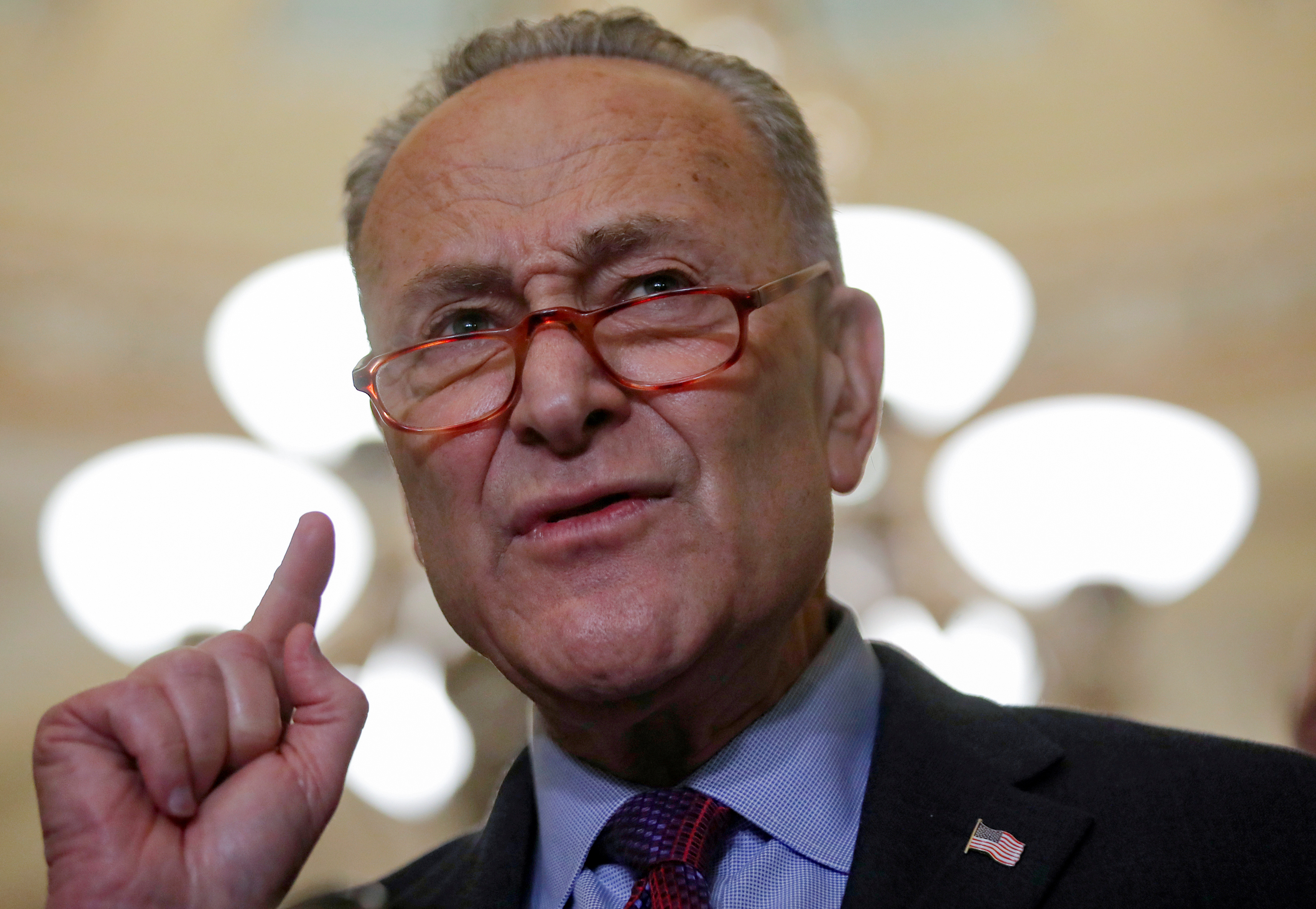 U.S. Senate Minority Leader Chuck Schumer (D-NY) speaks on Capitol Hill in Washington
