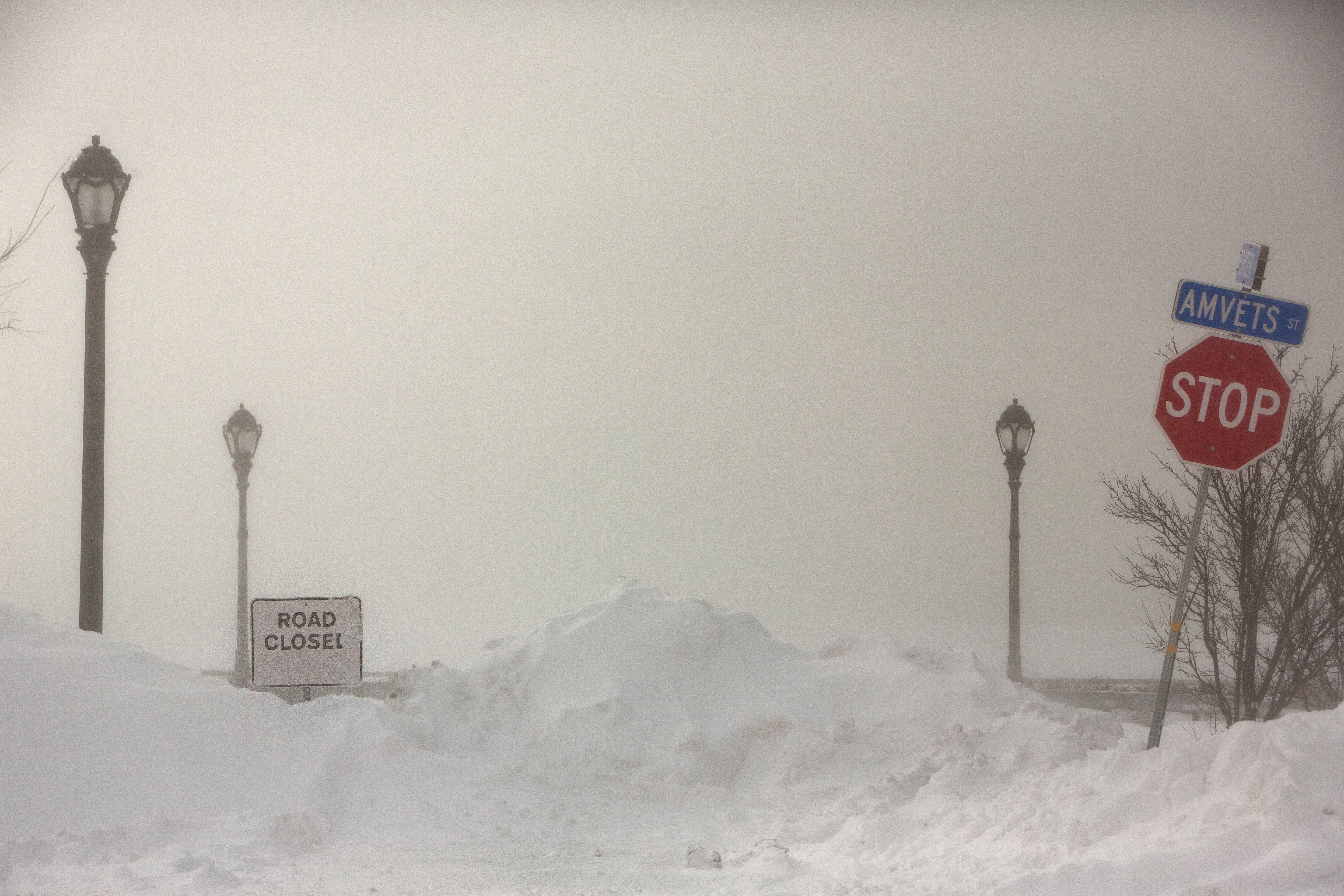 A view of a closed road during the polar vortex in Buffalo