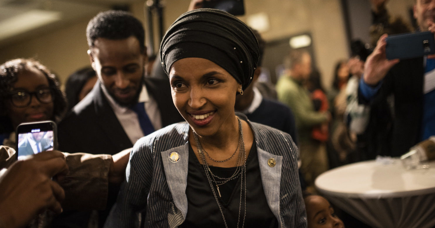 MINNEAPOLIS, MN - NOVEMBER 06: Minnesota Democratic Congressional Candidate Ilhan Omar arrives at an election night results party on November 6, 2018 in Minneapolis, Minnesota. (Photo by Stephen Maturen/Getty Images)