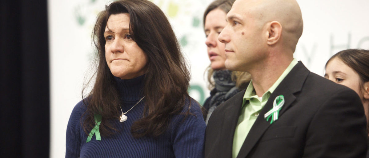 Jennifer Hensel and Jeremy Richman, parents of Avielle Richman, 6, a victim of the December 14, 2012 shooting at Sandy Hook Elementary School, attend the launch of The Sandy Hook Promise, a non-profit created in response to the shooting in Newtown, Connecticut January 14, 2013. REUTERS/Michelle McLoughlin