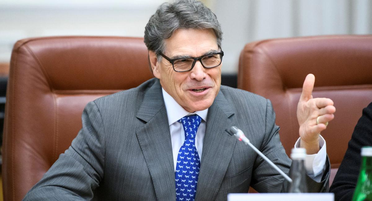 U.S. Energy Secretary Rick Perry speaks during a meeting in Kiev, Ukraine, November 12, 2018. Vladyslav Musiienko/Ukrainian Prime Minister Press Service/Handout via REUTERS