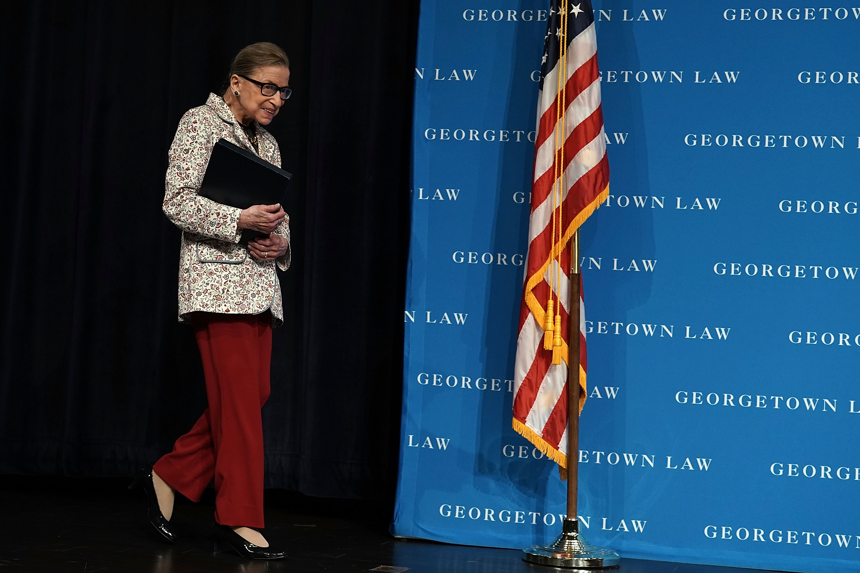 Supreme Court Justice Ruth Bader Ginsburg arrives at a lecture at Georgetown University Law Center on September 26, 2018. (Alex Wong/Getty Images)