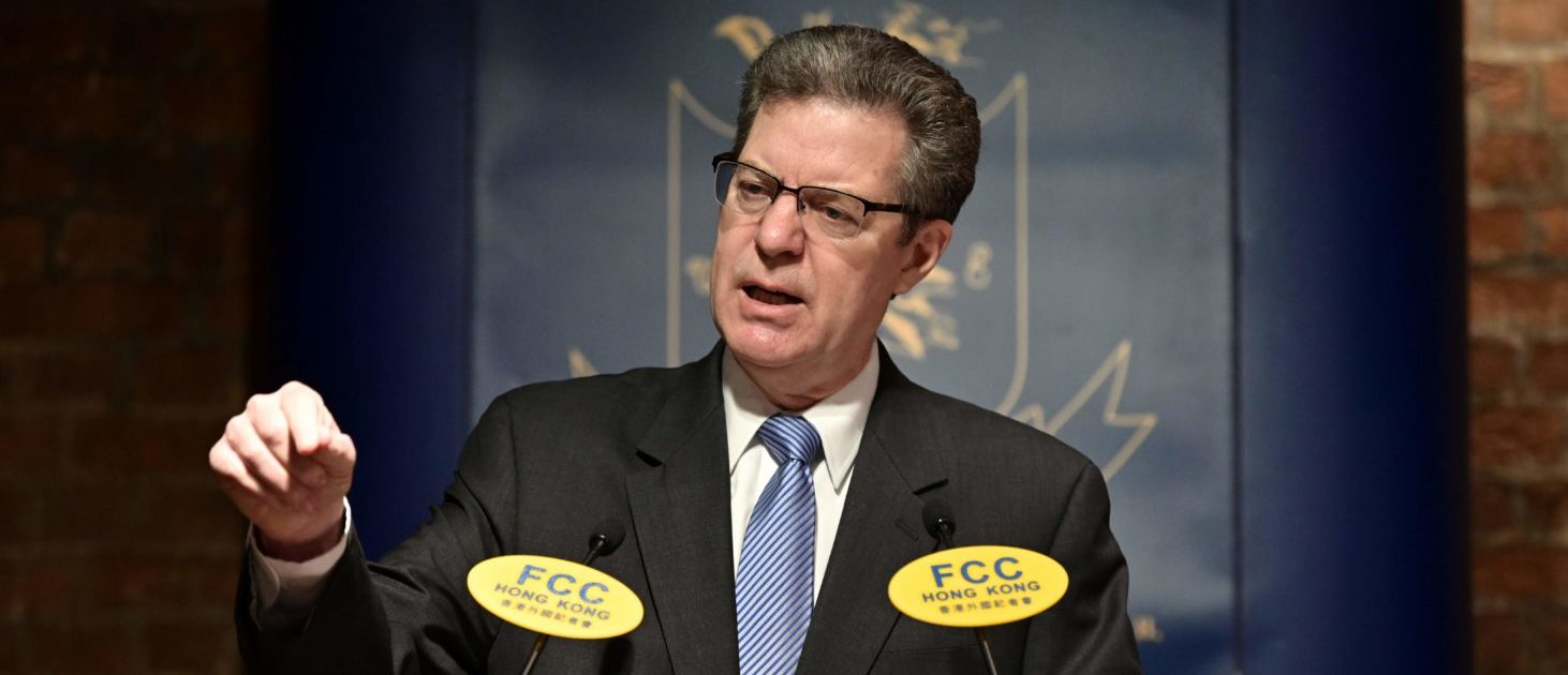 "Ambassador at Large for International Religious Freedom Sam Brownback speaks on ""Religious Freedom: Global Threats and the World's Response"" at the FCC (Foreign Correspondents' Club) in Hong Kong on March 8, 2019. (ANTHONY WALLACE/AFP/Getty Images)"