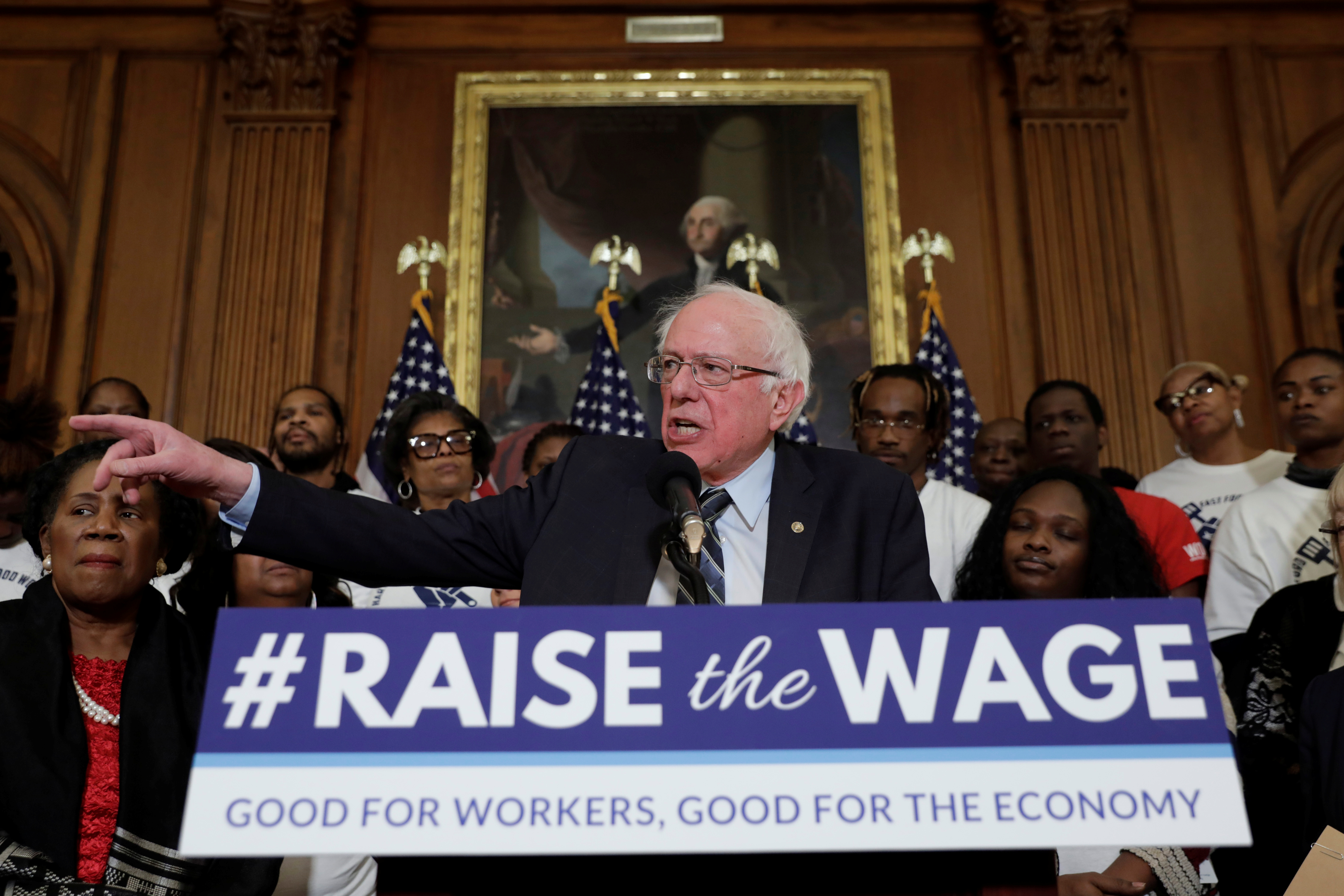 "U.S. Senator Bernie Sanders speaks during a news conference on ""Raise the Wage Act"" legislation on Capitol in Washington, U.S., January 16, 2019. REUTERS/Yuri Gripas"
