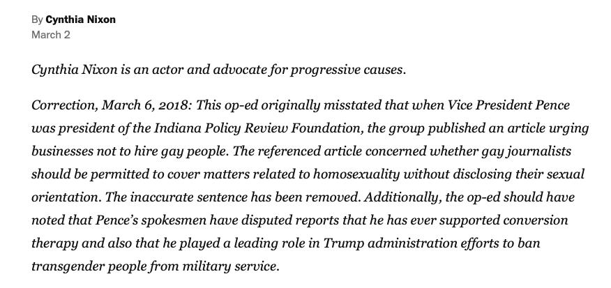 Washington Post Correction (Screenshot: March 7, 2019)