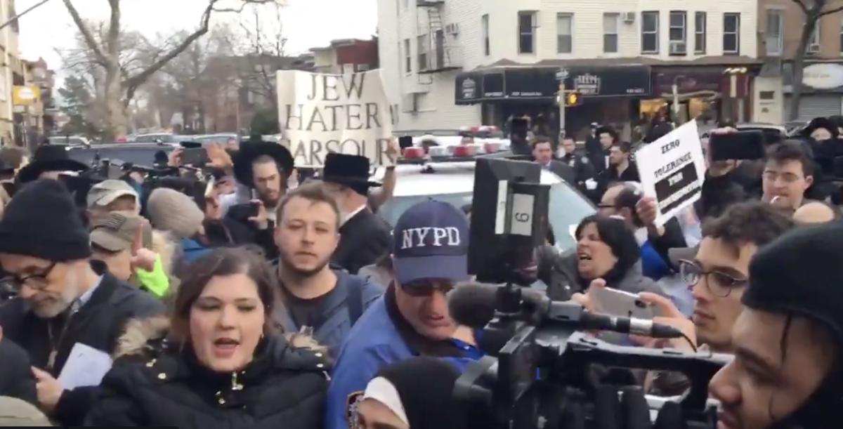 Protesters outside the home of NYC Councilman Kalman Yeger (Twitter screenshot from @IvanPer4)