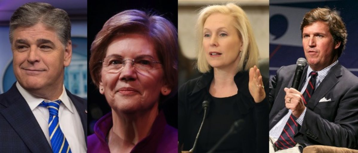 Sean Hannity, Elizabeth Warren, Kirsten Gillibrand and Tucker Carlson (LEFT; NICHOLAS KAMM/AFP/Getty Images LEFT MIDDLE: Mario Tama/Getty Images RIGHT MIDDLE: Mark Wilson/Getty Images RIGHT: Rich Polk/Getty Images for Politicon)