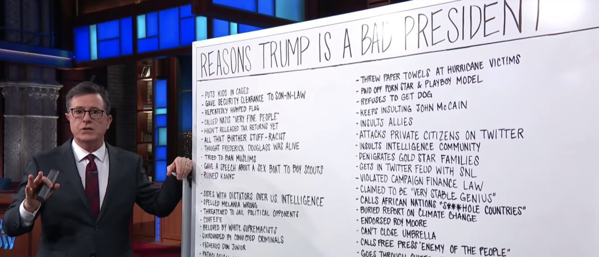 Late Show host Stephen Colbert crosses of the Russian collusion conspiracy theory from his list of reasons why Donald Trump is a bad president. YouTube/Screenshot/Colbert: All The Other Reasons Trump Is A Bad President