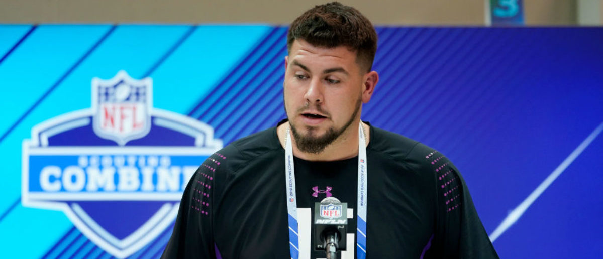 INDIANAPOLIS, IN - MARCH 01: Clemson offensive lineman Taylor Hearn speaks to the media during NFL Combine press conferences at the Indiana Convention Center on March 1, 2018 in Indianapolis, Indiana. (Photo by Joe Robbins/Getty Images)