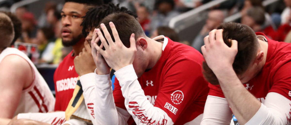 SAN JOSE, CALIFORNIA - MARCH 22: The Wisconsin Badgers bench reacts against the Oregon Ducks in the second half during the first round of the 2019 NCAA Men's Basketball Tournament at SAP Center on March 22, 2019 in San Jose, California. (Photo by Ezra Shaw/Getty Images)
