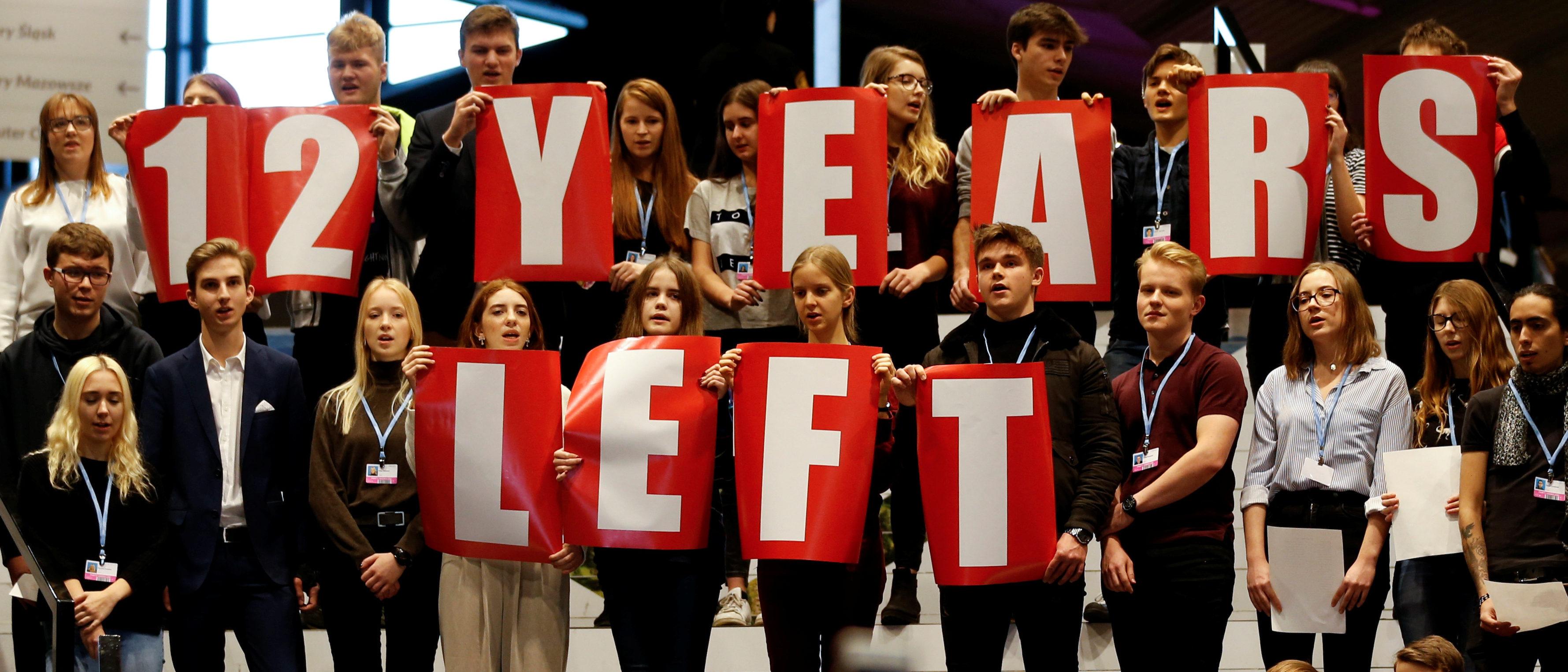 Local school children join Greta Thunberg's initiative on climate strike during the COP24 UN Climate Change Conference 2018 in Katowice, Poland December 14, 2018. Agencja Gazeta/Grzegorz Celejewski via REUTERS.