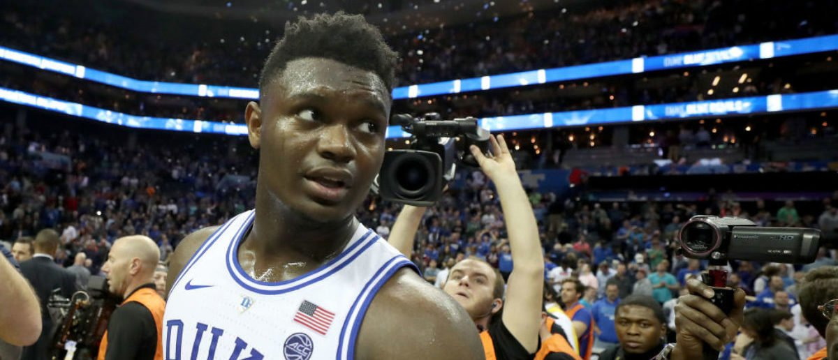 CHARLOTTE, NORTH CAROLINA - MARCH 16: Zion Williamson #1 of the Duke Blue Devils reacts after defeating the Florida State Seminoles 73-63 in the championship game of the 2019 Men's ACC Basketball Tournament at Spectrum Center on March 16, 2019 in Charlotte, North Carolina. (Photo by Streeter Lecka/Getty Images)