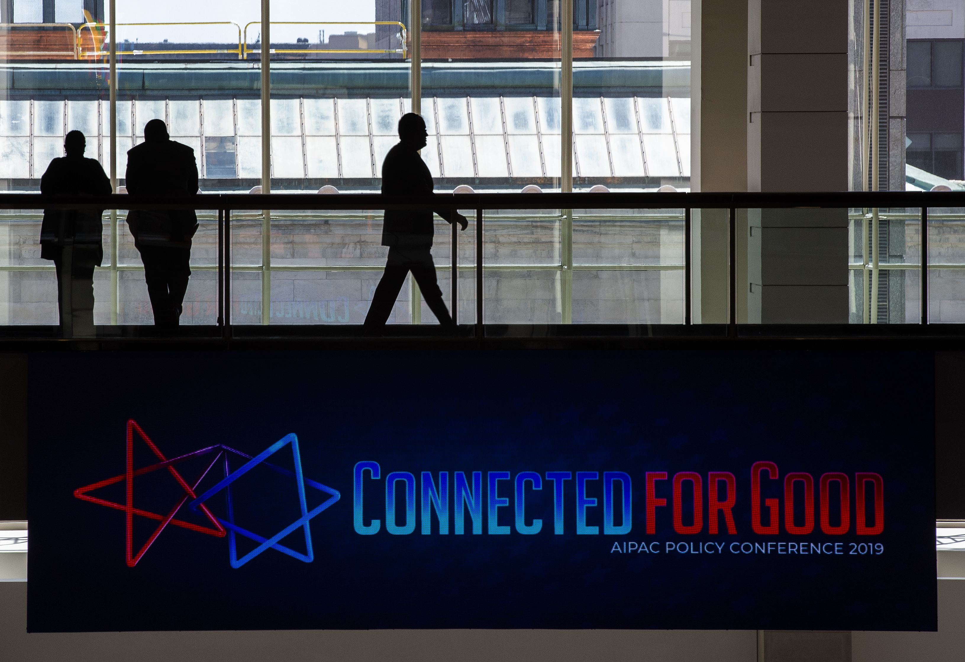 People attend the American Israel Public Affairs Committee (AIPAC) conference in Washington, DC on March 24, 2019. (Andrew Caballero-Reynolds/AFP/Getty Images)