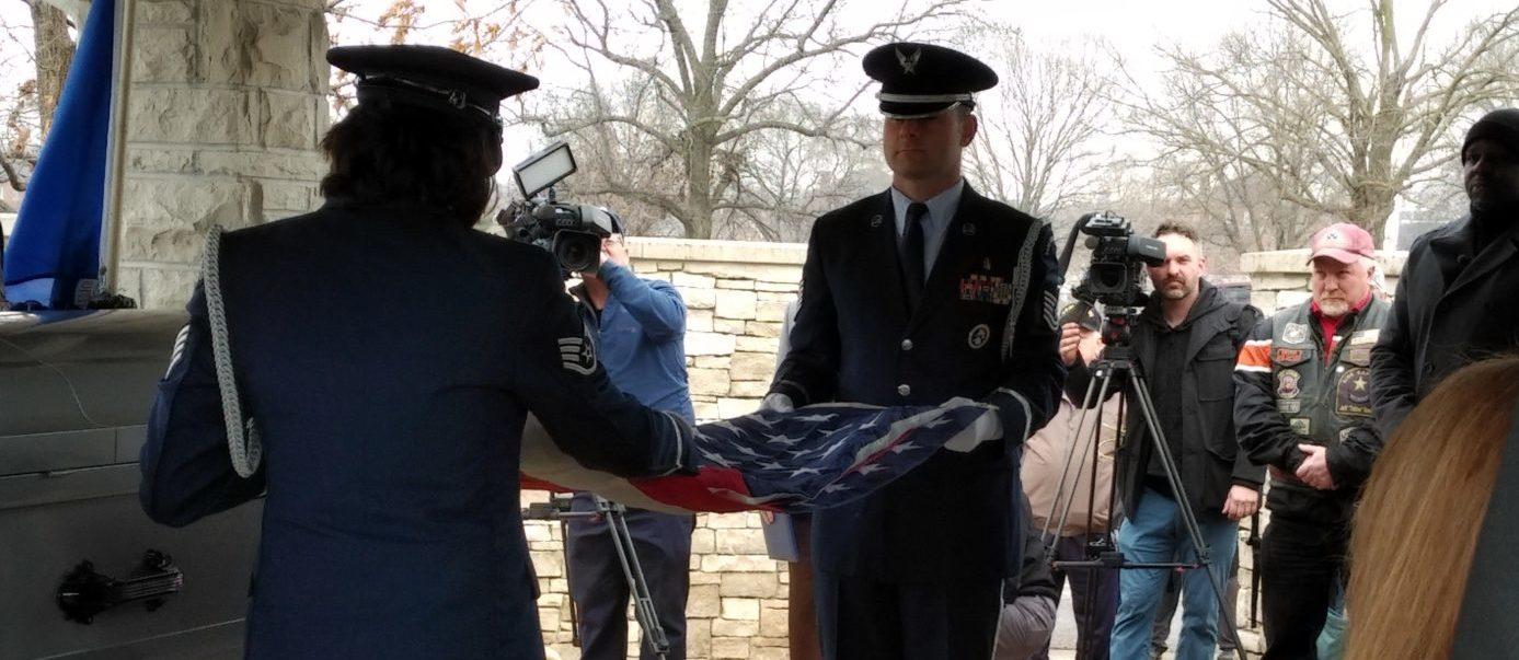 Air Force members perform flag folding ceremony at the funeral for Air Force Sergeant Robert Wunderlich. Virginia Kruta/The Daily Caller