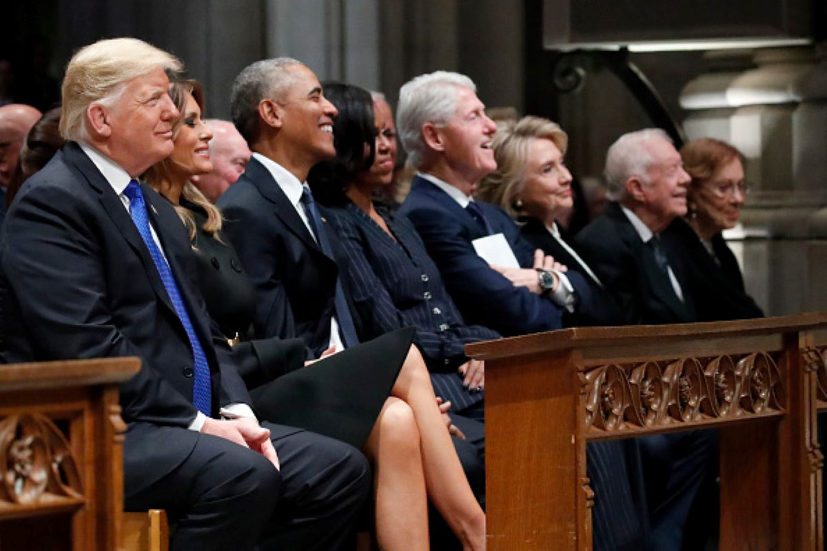 From left, President Donald Trump, first lady Melania Trump, former President Barack Obama, former first lady Michelle Obama, former President Bill Clinton, former Secretary of State Hillary Clinton, and former President Jimmy Carter and former first lady Rosalynn Carter attend the state funeral for former U.S. President George H. W. Bush at the Washington National Cathedral. (Photo by Alex Brandon - Pool/Getty Images)