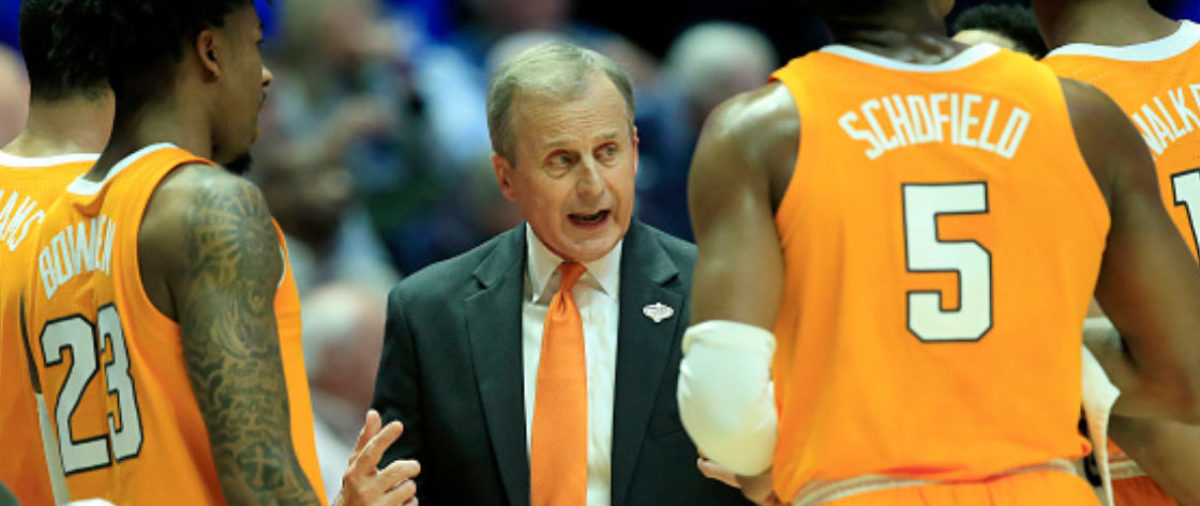 Rick Barnes the head coach of the Tennessee Volunteers gives instructions to his team during the 82-78 win over the Kentucky Wildcats during the semifinals of the SEC Basketball Tournament at Bridgestone Arena on March 16, 2019 in Nashville, Tennessee