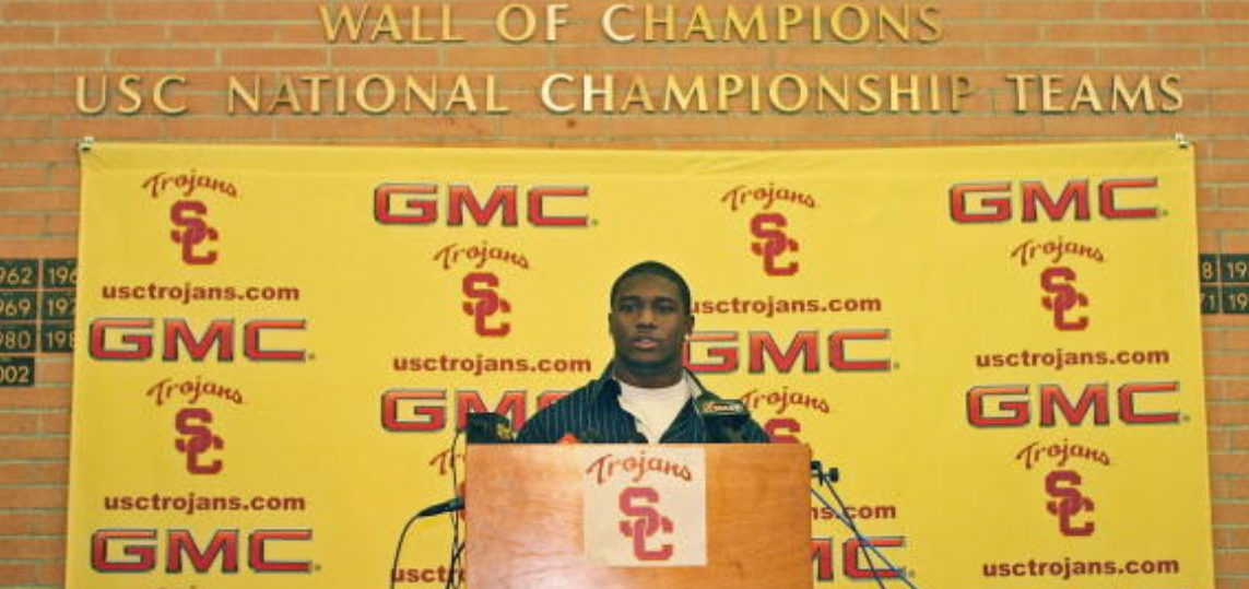 LOS ANGELES - JANUARY 12: Reggie Bush of the USC Trojans announces that he will forgo his senior year and enter the 2006 NFL Draft during a press conference on January 12, 2006 at Heritage Hall on the USC Campus in Los Angeles, California.
