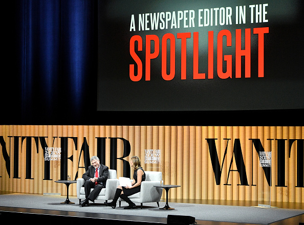 "SAN FRANCISCO, CA - OCTOBER 19: Executive editor at The Washington Post, Martin Baron, (L) and Vanity Fair's Sarah Ellison speak onstage during ""A Newspaper Editor in the Spotlight"" at the Vanity Fair New Establishment Summit at Yerba Buena Center for the Arts on October 19, 2016 in San Francisco, California. (Photo by Mike Windle/Getty Images for Vanity Fair)"