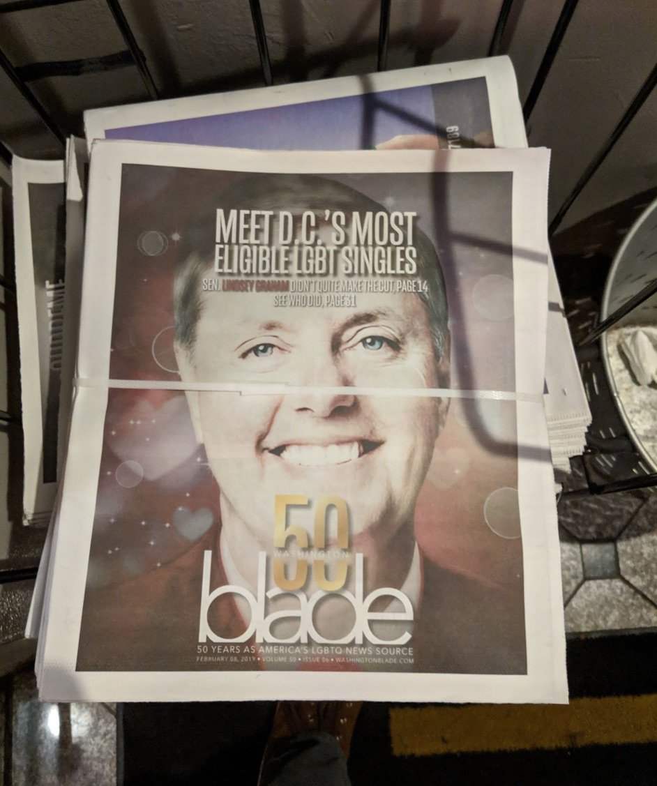 Lindsey Graham is featured on the cover of the Washington Blade. Photo/The Daily Caller