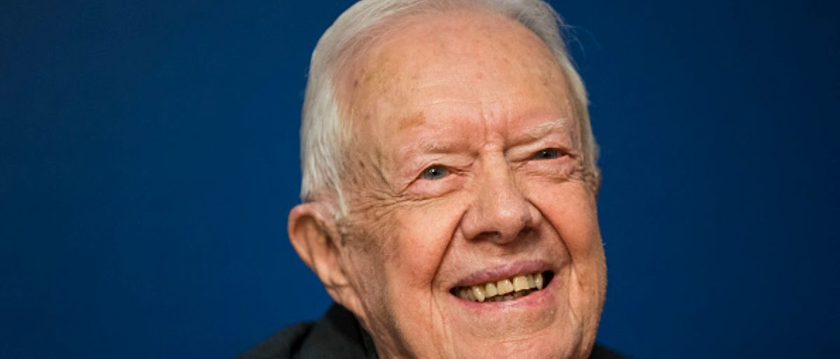 Former U.S. President Jimmy Carter smiles during a book signing event for his new book 'Faith: A Journey For All' at Barnes & Noble bookstore in Midtown Manhattan, March 26, 2018 in New York City. Carter, 93, has been a prolific author since leaving office in 1981, publishing dozens of books. (Photo by Drew Angerer/Getty Images)