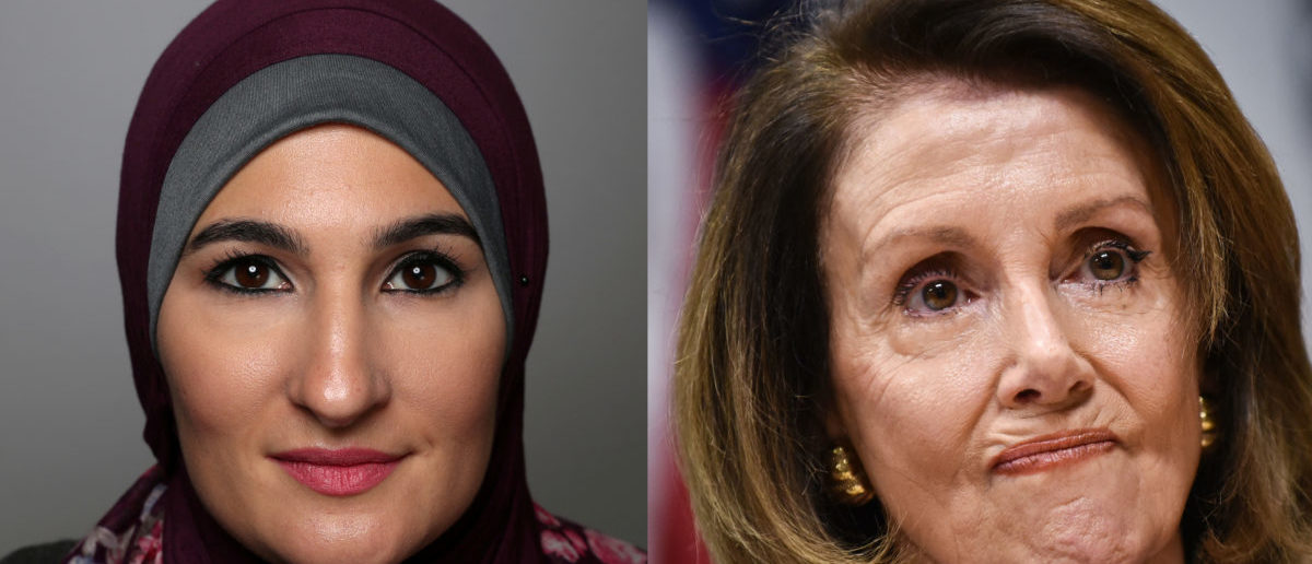 Left: Womens March cofounder Linda Sarsour Right: Speaker of the House Nancy Pelosi (Left photo: REUTERS/Lucy Nicholson Right photo: MANDEL NGAN/AFP/Getty Images)