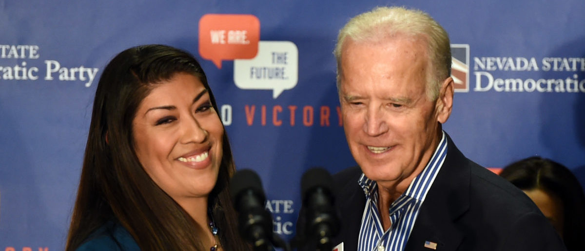 Democratic candidate for lieutenant governor and current Nevada Assemblywoman Lucy Flores (D-Las Vegas) (L) introduces U.S. Vice President Joe Biden at a get-out-the-vote rally at a union hall on November 1, 2014 in Las Vegas, Nevada. (Photo by Ethan Miller/Getty Images)