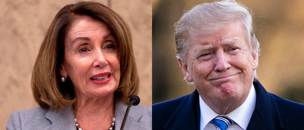 House Speaker Nancy Pelosi (L) is usually at odds with President Donald Trump (R). ANDREW CABALLERO-REYNOLDS/AFP/Getty Images Al Drago/Getty Images