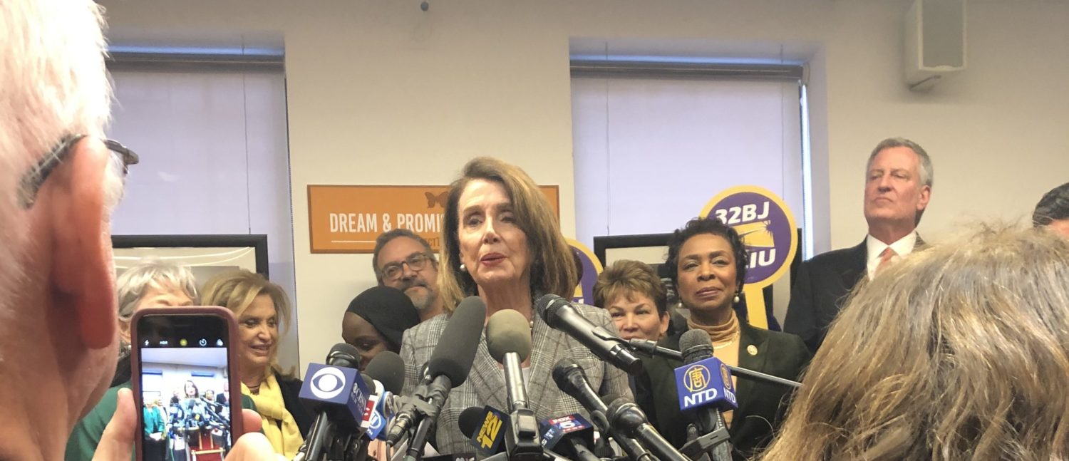 House Speaker Nancy Pelosi at NYC Press Conf. 3/20/19 (Credit/The Daily Caller: Kerry Picket)