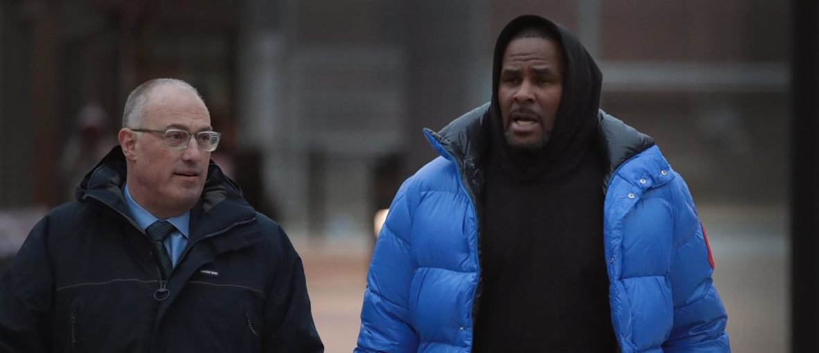 R&B singer R. Kelly (R) and his attorney Steve Greenberg leave Cook County jail after Kelly posted $100 thousand bond on February 25, 2019 in Chicago, Illinois. Kelly was being held after turning himself in to face ten counts of aggravated sexual abuse. (Photo by Scott Olson/Getty Images)