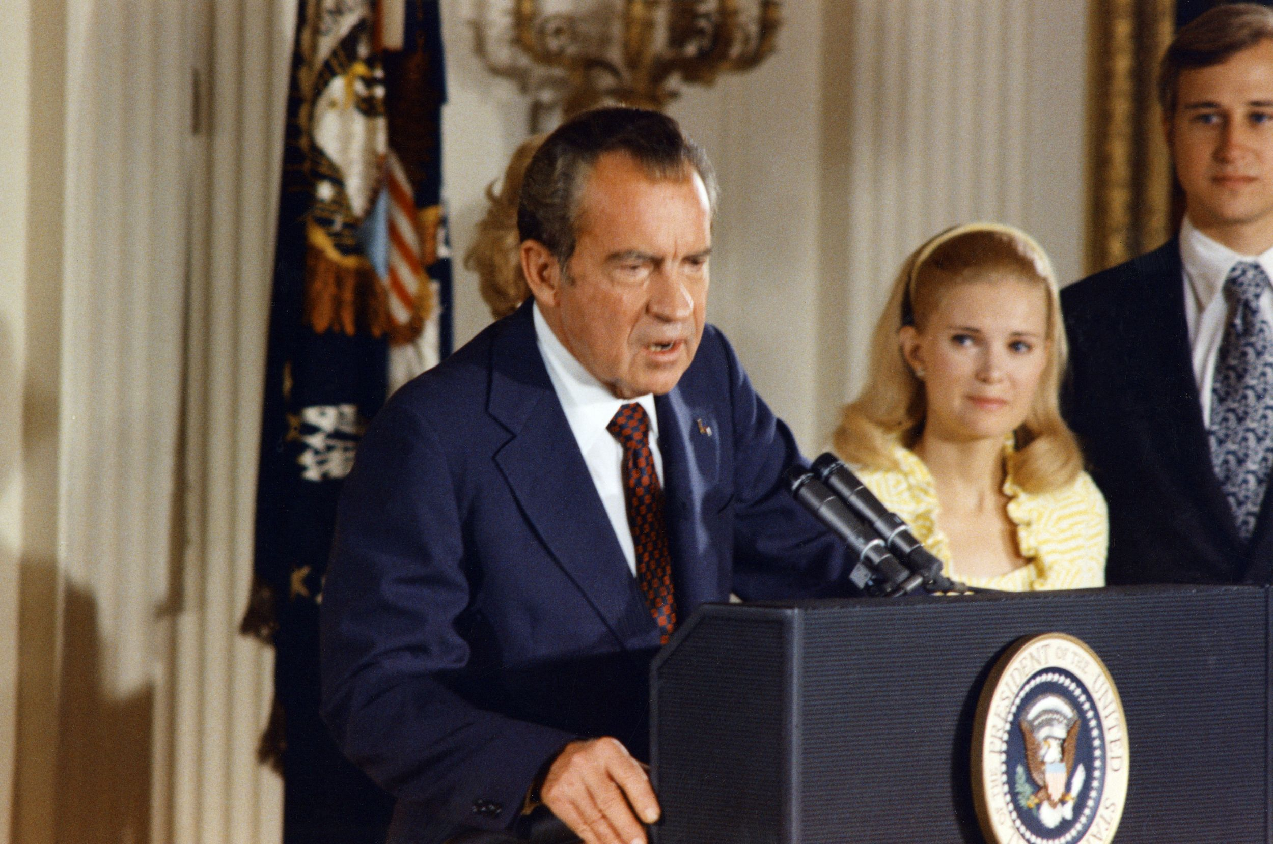 File photo dated 09 August 1974 of the 37th President of the United States, Richard Nixon, as he bids farewell to the White House staff. WHITE HOUSE/AFP/Getty Images