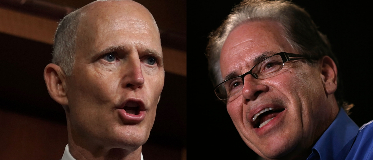 Sens. Rick Scott of Florida and Mike Braun of Indiana, both of whom have net worths well into the millions, are theBanning Lobbying and Safeguarding Trust (BLAST) Act's only cosponsors. Jim Young/Getty Images and Alex Wong/Getty Images