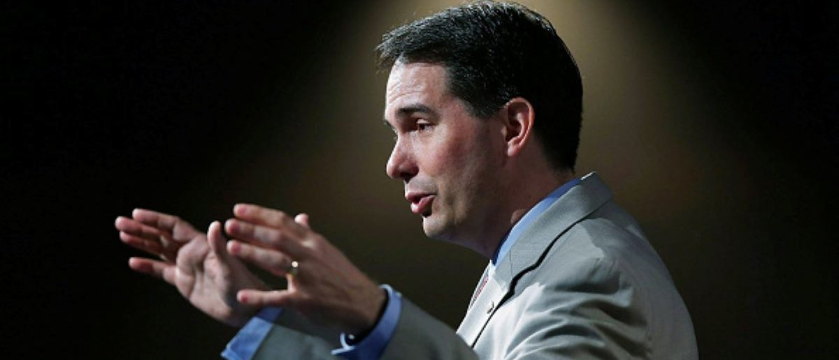 Wisconsin Governor Scott Walker and possible Republican presidential candidate speaks during the Rick Scott's Economic Growth Summit held at the Disney's Yacht and Beach Club Convention Center on June 2, 2015 in Orlando, Florida.