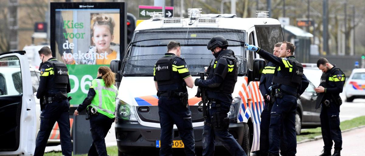Police secure the site of a shooting in Utrecht, Netherlands, March 18, 2019. REUTERS/Piroschka van de Wouw