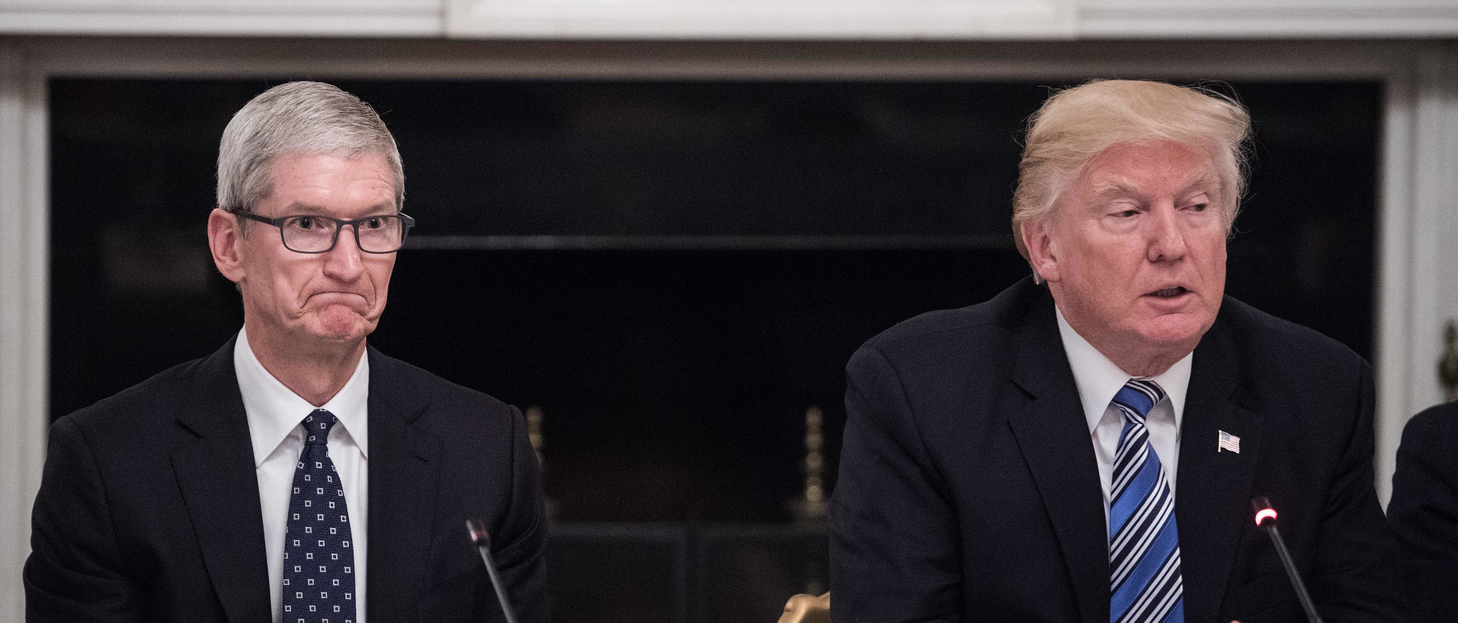 Apple CEO Tim Cook (L) listens to US President Donald Trump during an American Technology Council roundtable at the White House in Washington, DC, on June 19, 2017. (NICHOLAS KAMM/AFP/Getty Images)