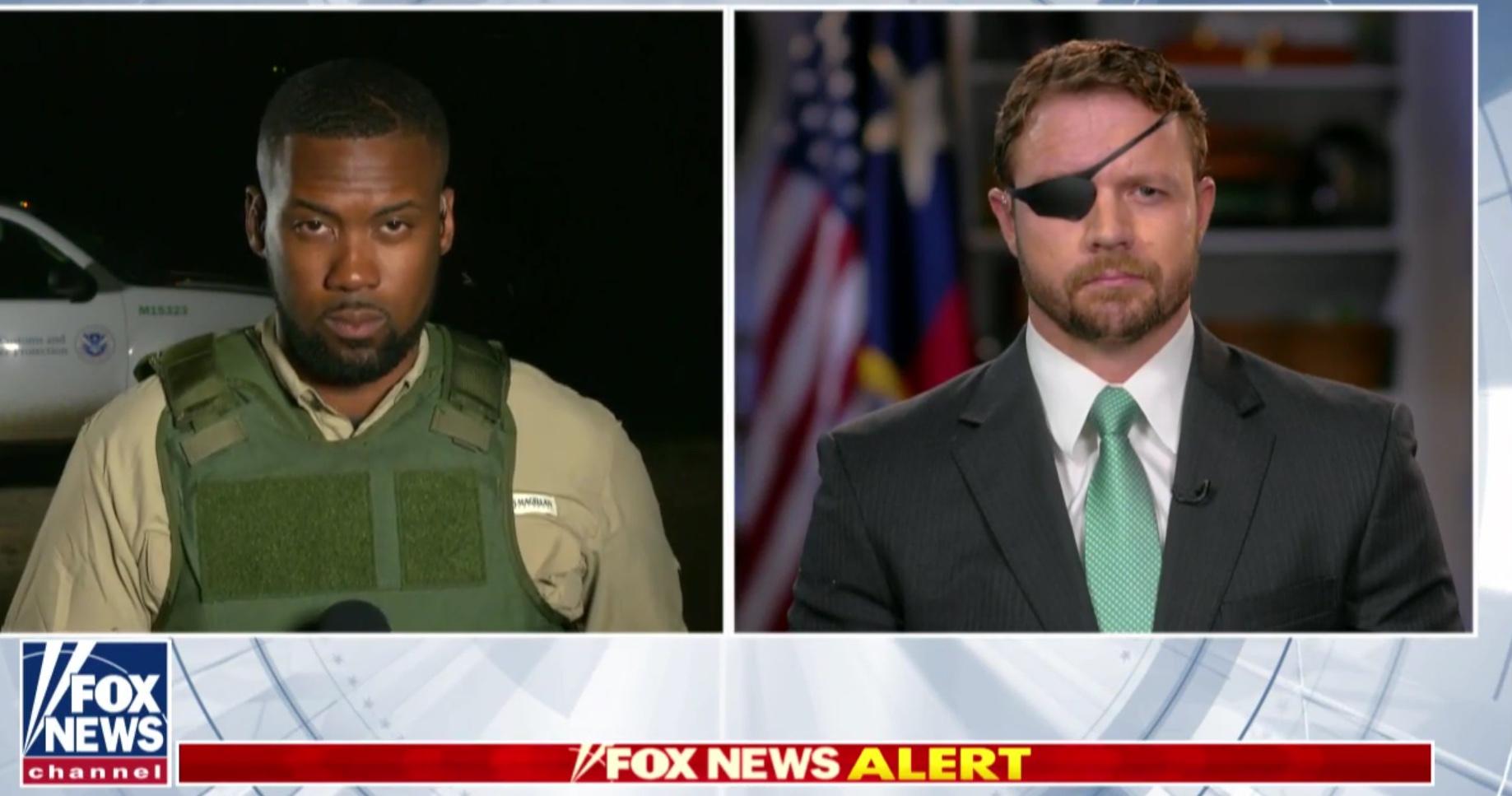 "Fox reporter Lawrence Jones and Republican Texas Rep. Dan Crenshaw discuss the border crisis on ""Hannity,"" Apr. 4, 2019. Fox News screenshot"