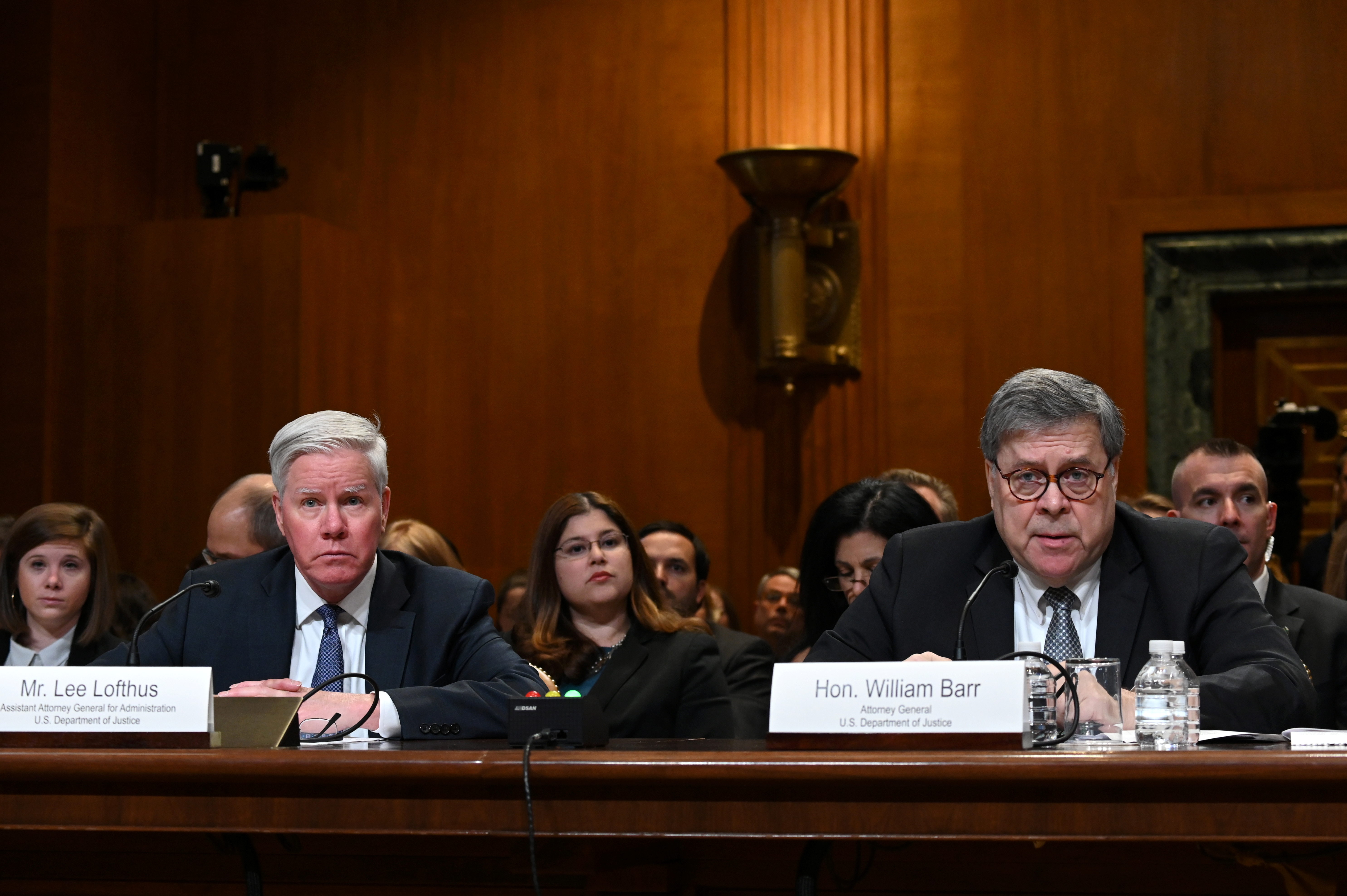 U.S. Assistant Attorney General for Administration Lee Lofthus and U.S. Attorney General William Barr participate in a Senate Appropriations Subcommittee hearing on the proposed budget estimates for the Department of Justice in Washington, U.S. April 10, 2019. REUTERS/Erin Scott
