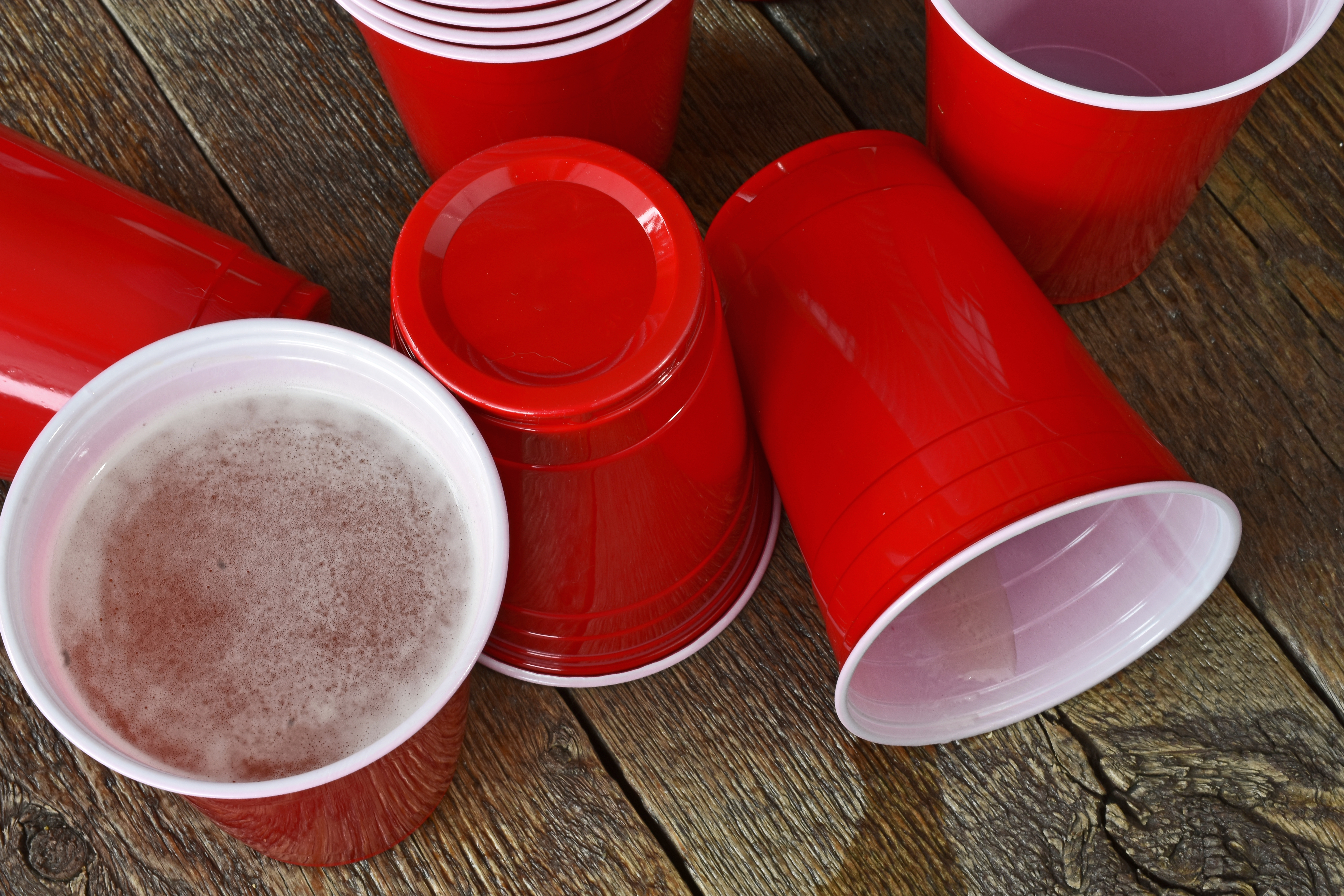 Pictured is alcohol in red solo cups. SHUTTERSTOCK/ Pam Walker