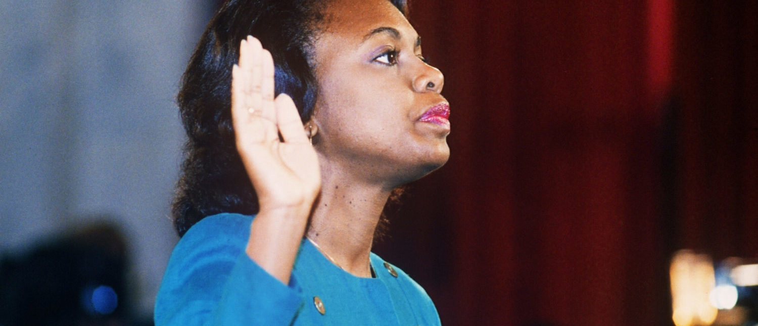 Anita Hill is sworn in before the Senate Judiciary Committee in Washington D.C. on October 12, 1991. (Jennifer Law/AFP/Getty Images)