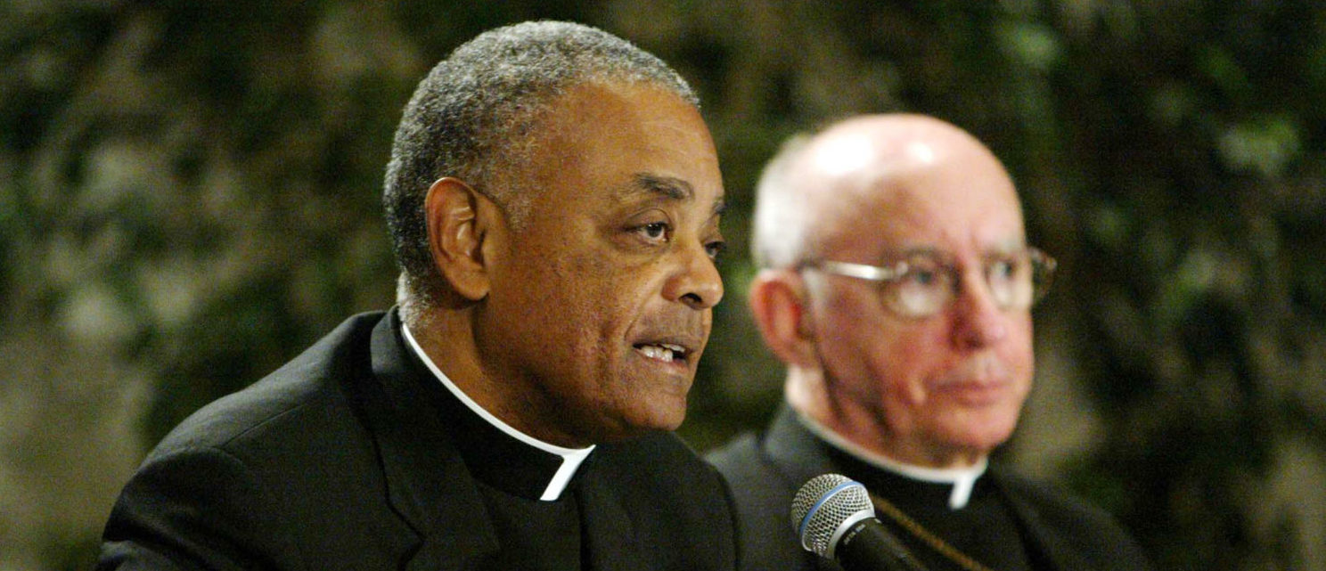 ST. LOUIS, MO - JUNE 21: Wilton Gregory (L), President of the U.S. Conference of Catholic Bishops, addresses the closing session of the three day conference while Harry Flynn, Archbishop of Minneapolis, looks on at St. Louis Union Station in St. Louis June 21, 2003 in St. Louis, Missouri. (Photo by Bill Greenblatt/Getty Images)