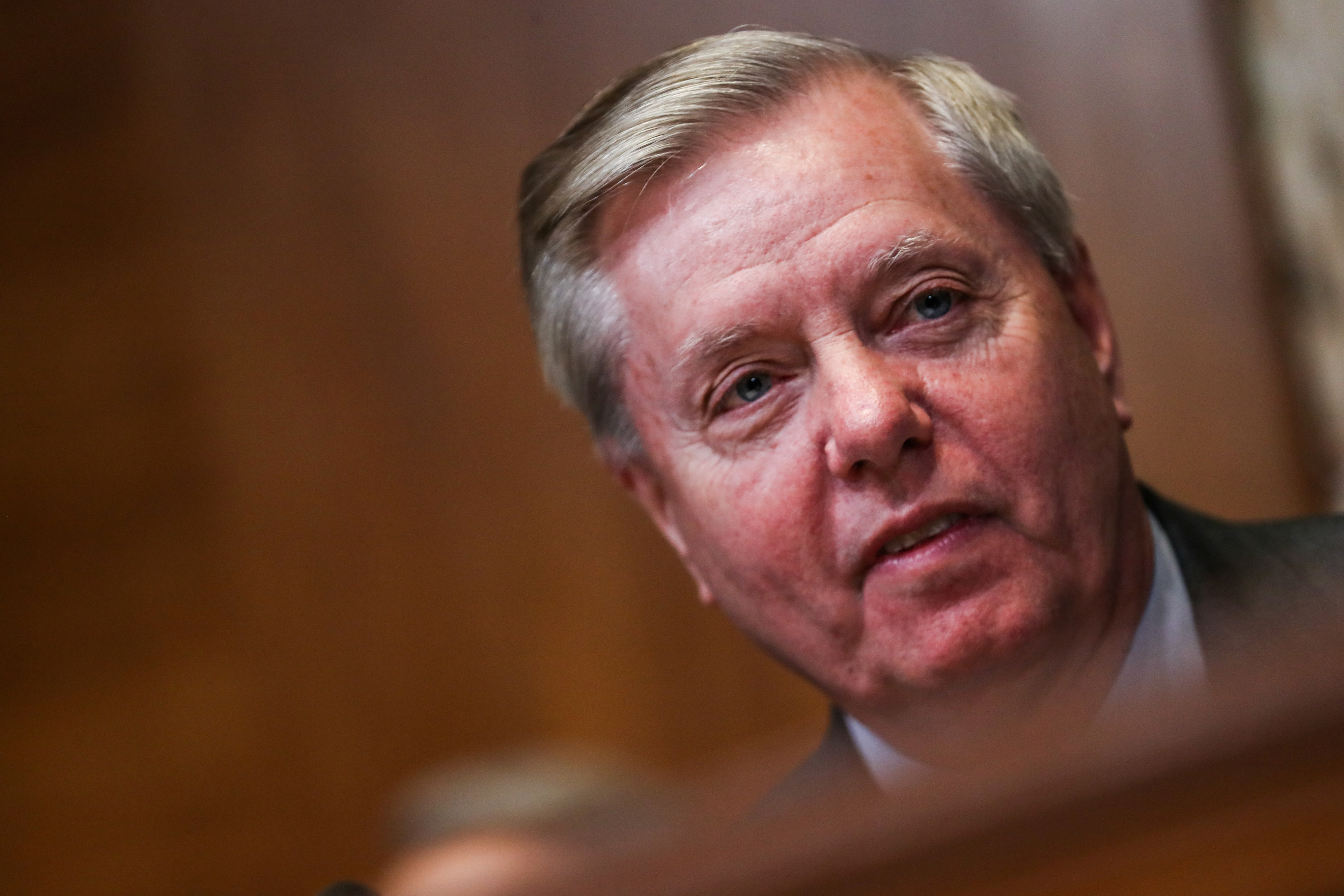 Chairman of the Senate Judiciary Committee Lindsey Graham (R-SC) speaks before a Senate Appropriations Subcommittee hearing on the proposed budget estimates and justification for FY2020 for the State Department on Capitol Hill in Washington, U.S., April 9, 2019. REUTERS/Jeenah Moon