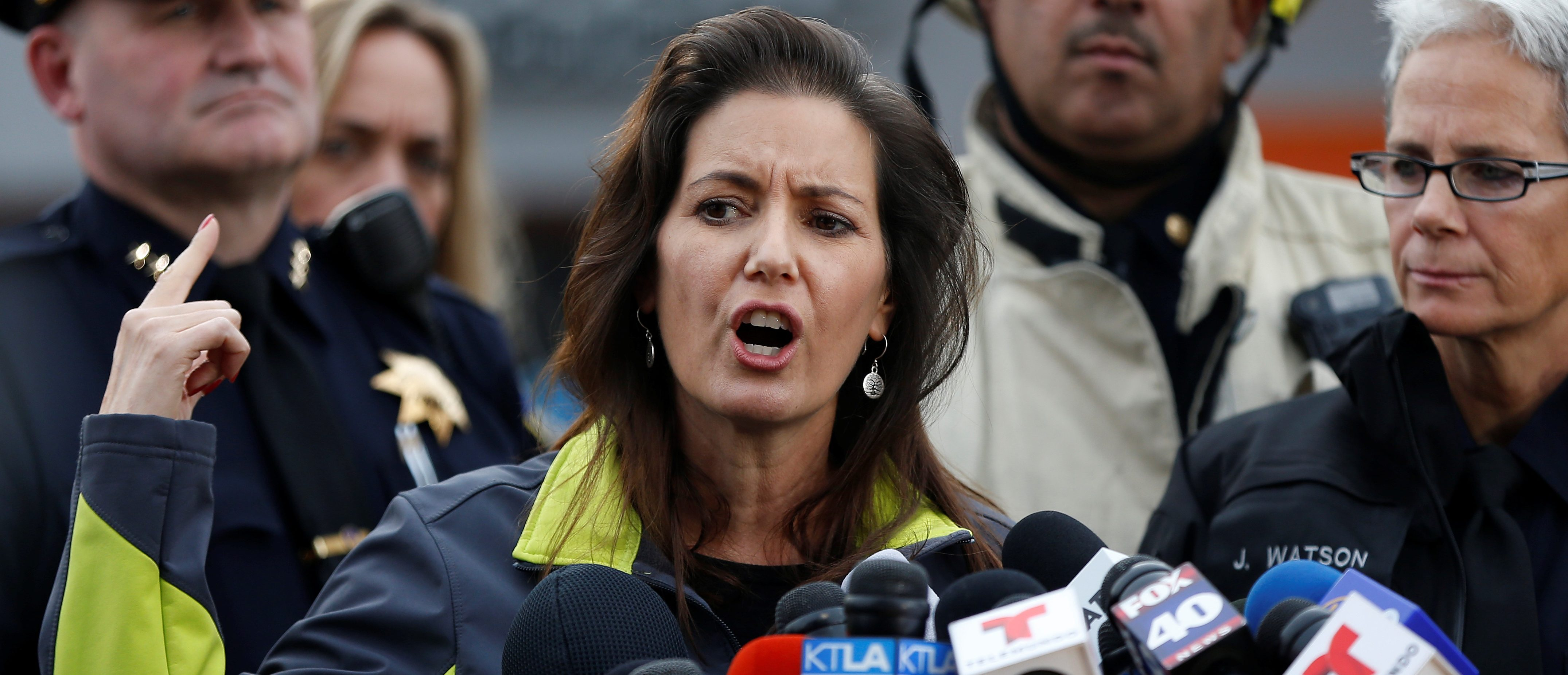 Oakland Mayor Libby Schaaf speaks to members of the media at the scene of a fatal warehouse fire in the Fruitvale district of Oakland, California, U.S. December 5, 2016. REUTERS/Stephen Lam