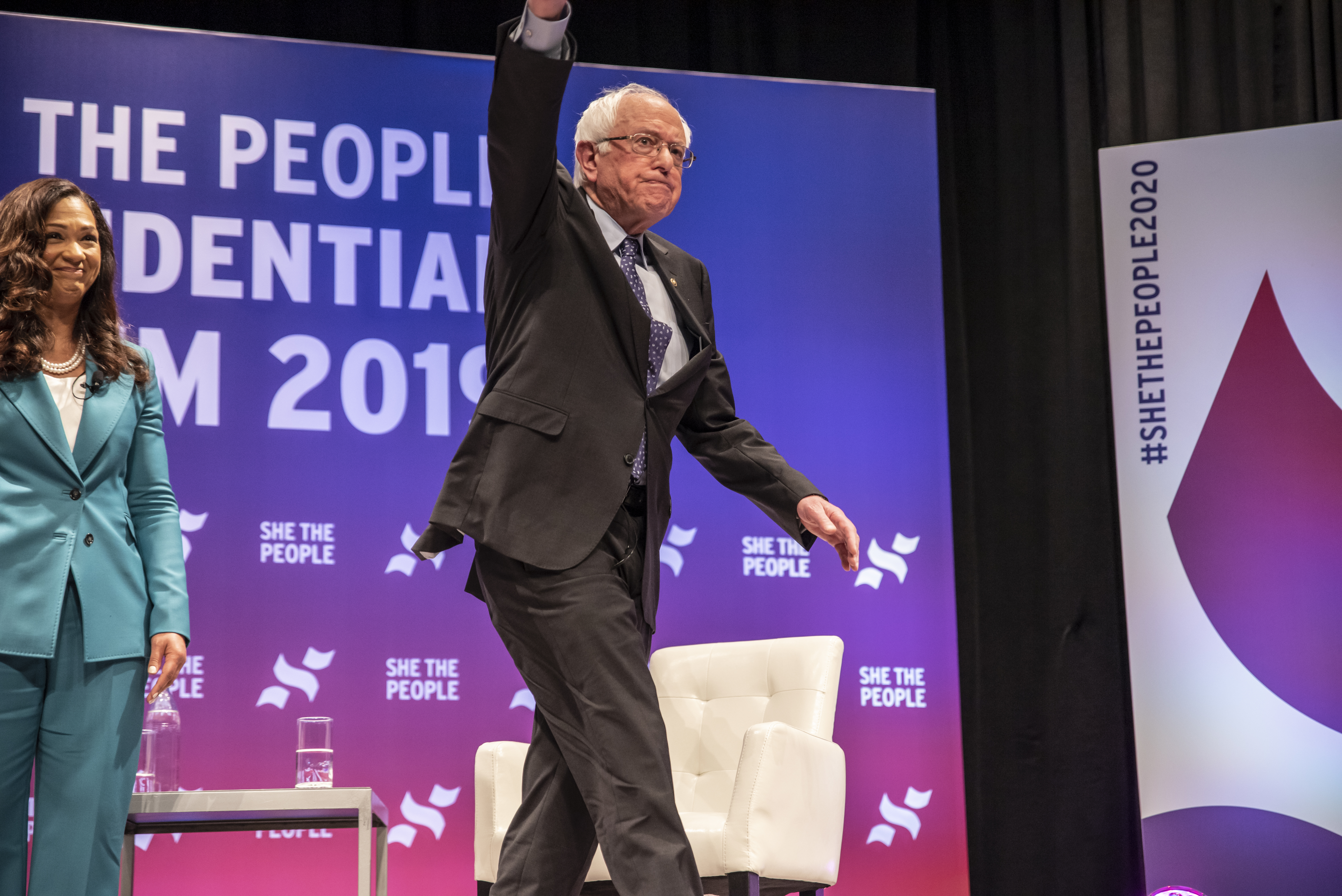 Democratic presidential candidate Sen. Bernie Sanders waves to the crowd at the She The People Presidential Forum at Texas Southern University on April 24, 2019 in Houston, Texas. (Sergio Flores/Getty Images)
