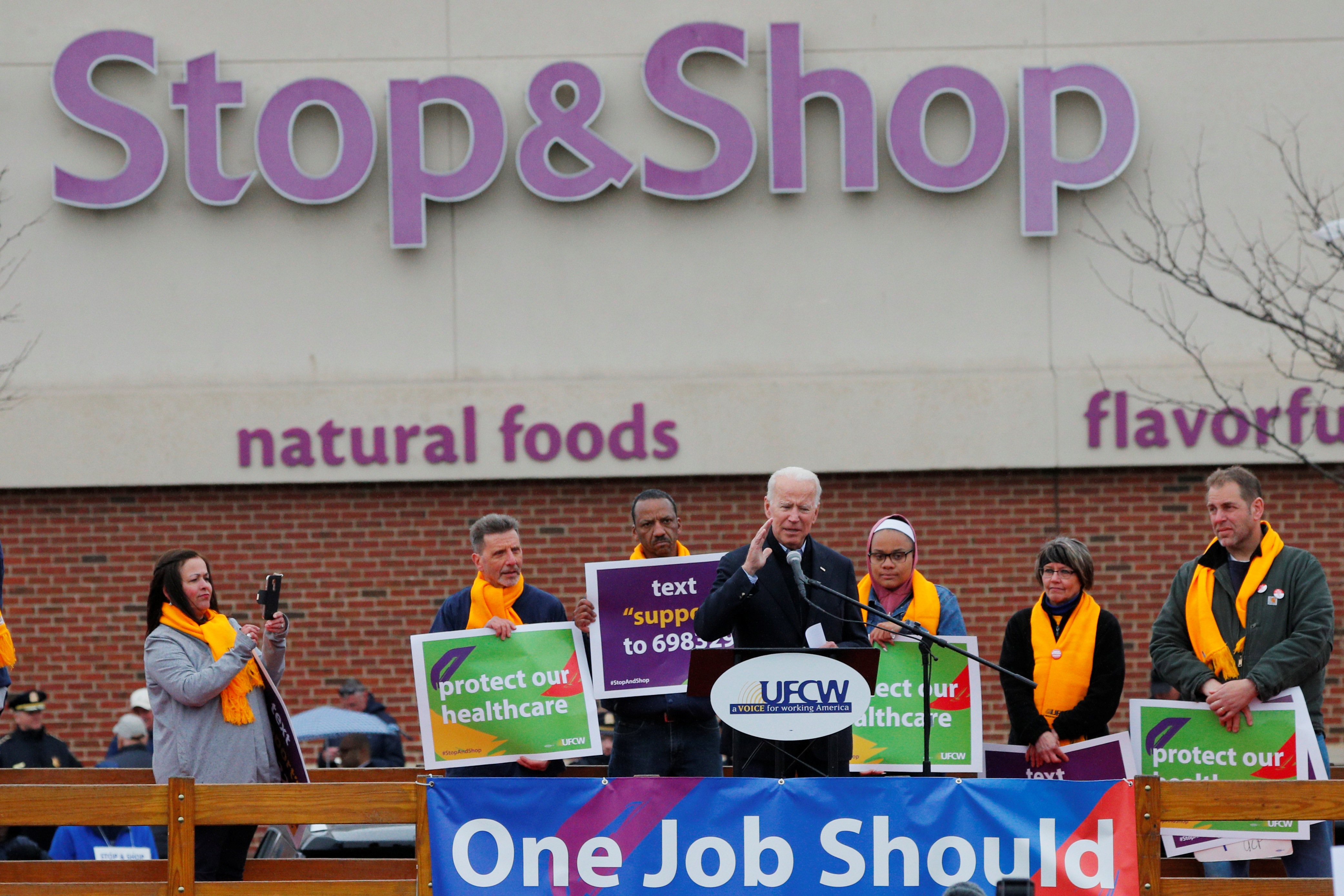 Former U.S. Vice President Joe Biden, a potential 2020 Democratic presidential candidate, speaks at a rally with striking Stop & Shop workers in Boston, Massachusetts, U.S., April 18, 2019. REUTERS/Brian Snyder