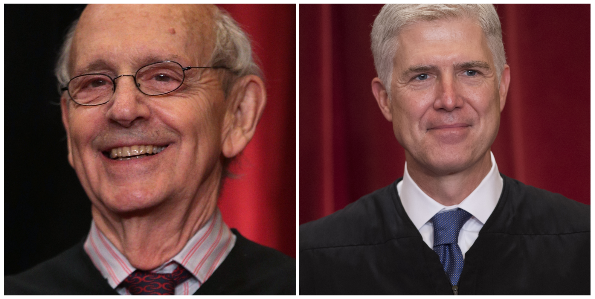 Justice Stephen Breyer (L) and Justice Neil Gorsuch (R). (Photos via Getty Images)