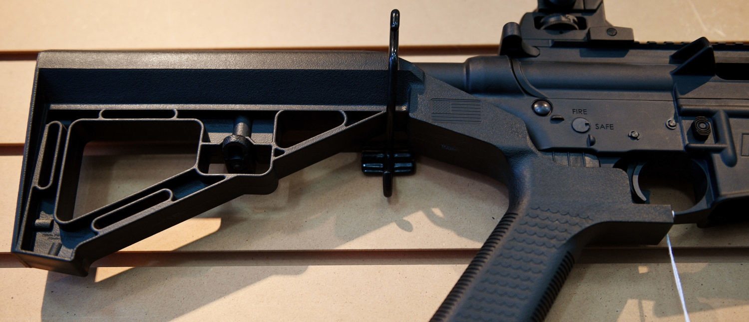 A bump stock installed on an AR-15 at Blue Ridge Arsenal in Chantilly, Virgina, on October 6, 2017. (Jim Watson/AFP/Getty Images)